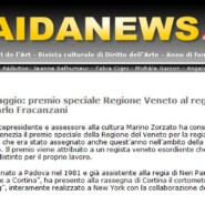 "AidaNews.it ""Cortinametraggio: premio speciale Regione Veneto al regista padovano Carlo Fracanzani"""