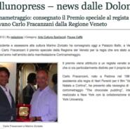 """Bellunopress """"Cortinametraggio: consegnato il Premio speciale al regista padovano Carlo Fracanzani dalla Regione Veneto"""
