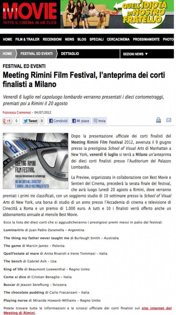 """Best movie """"Meeting Rimini Film Festival, l'anteprima dei corti finalisti a Milano"""""""