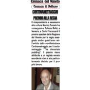 """Cronaca del Veneto """"Cortinametraggio, premio alla regia"""""""