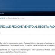 """Regione del Veneto """"Cortinametraggio: premio speciale Regione Veneto al regista padovano Carlo Fracanzani"""""""