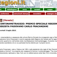 """Regioni.it """"Cortinametraggio: premio speciale Regione Veneto al regista padovano Carlo Fracanzani"""""""