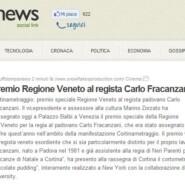 """Up news """"Premio Regione Veneto al regista Carlo Fracanzani"""""""